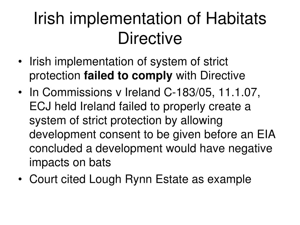 Irish implementation of Habitats Directive