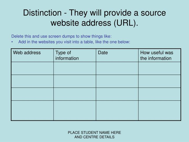 Distinction - They will provide a source website address (URL).