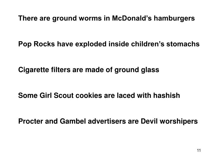 There are ground worms in McDonald's hamburgers