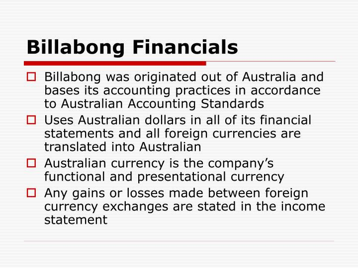 Billabong Financials