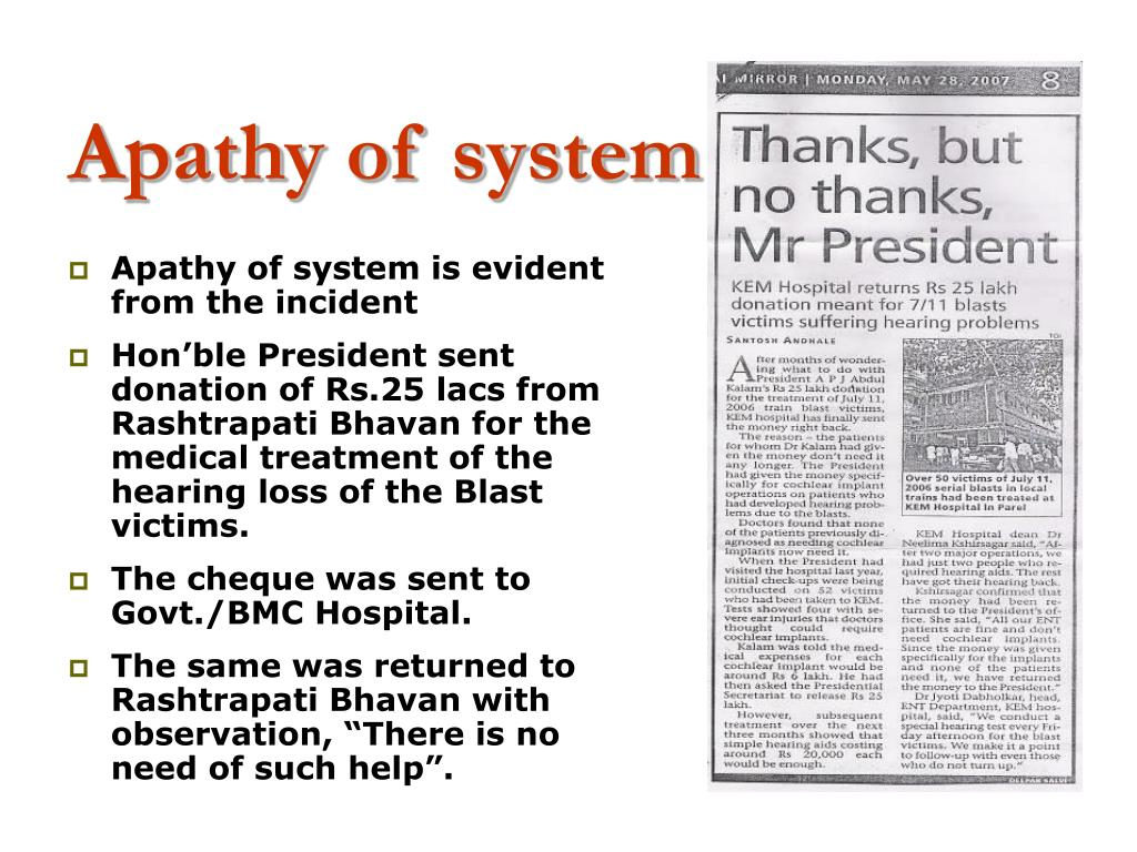 Apathy of system