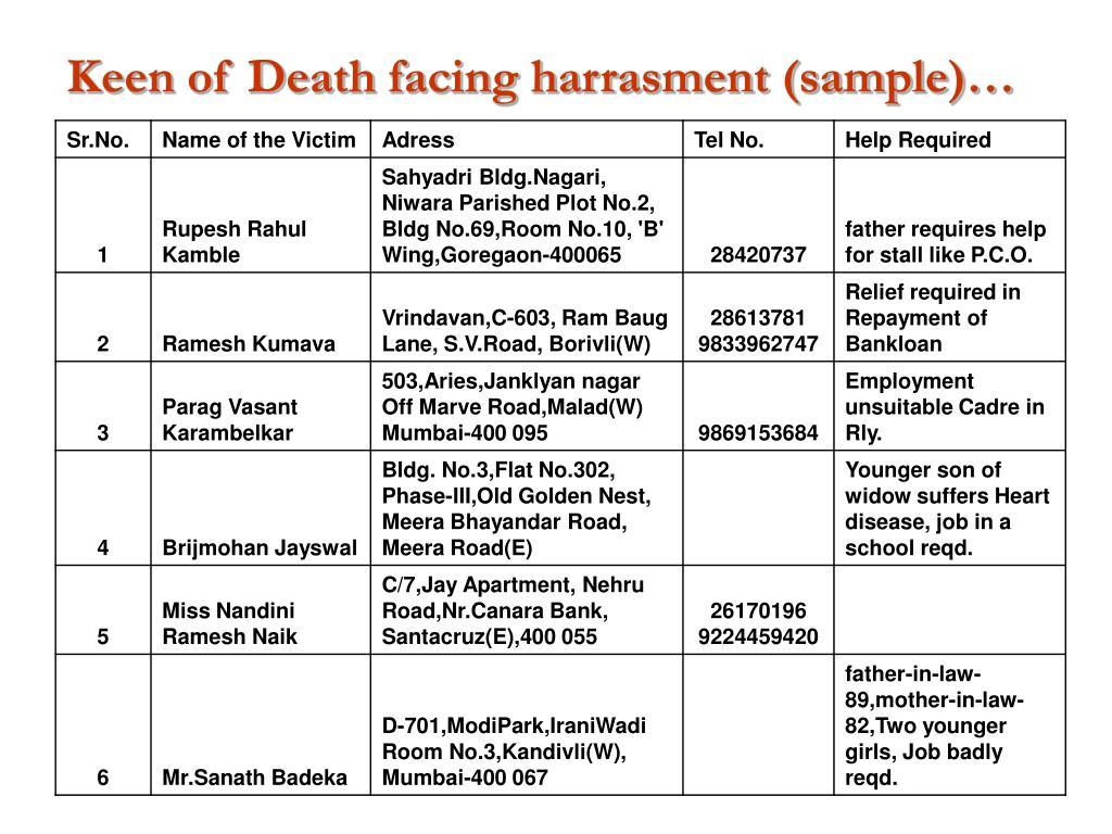 Keen of Death facing harrasment (sample)…