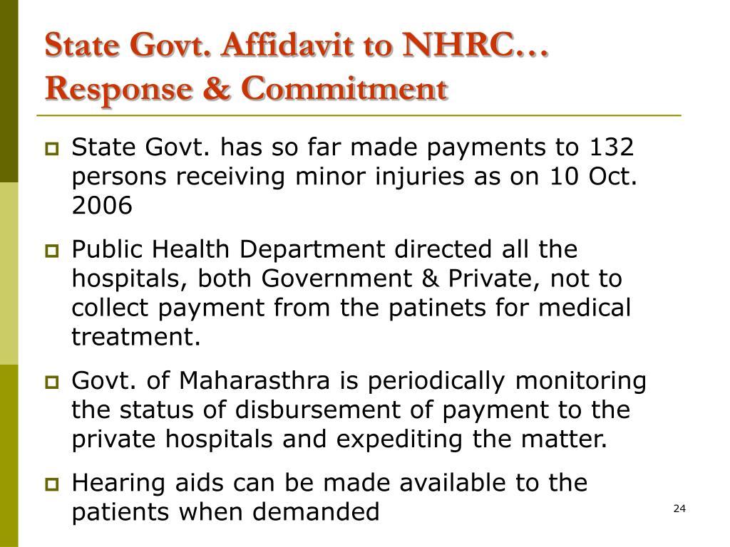 State Govt. Affidavit to NHRC…