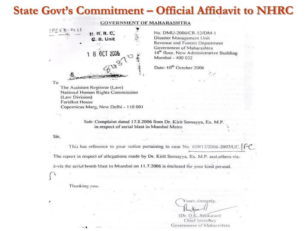 State Govt's Commitment – Official Affidavit to NHRC