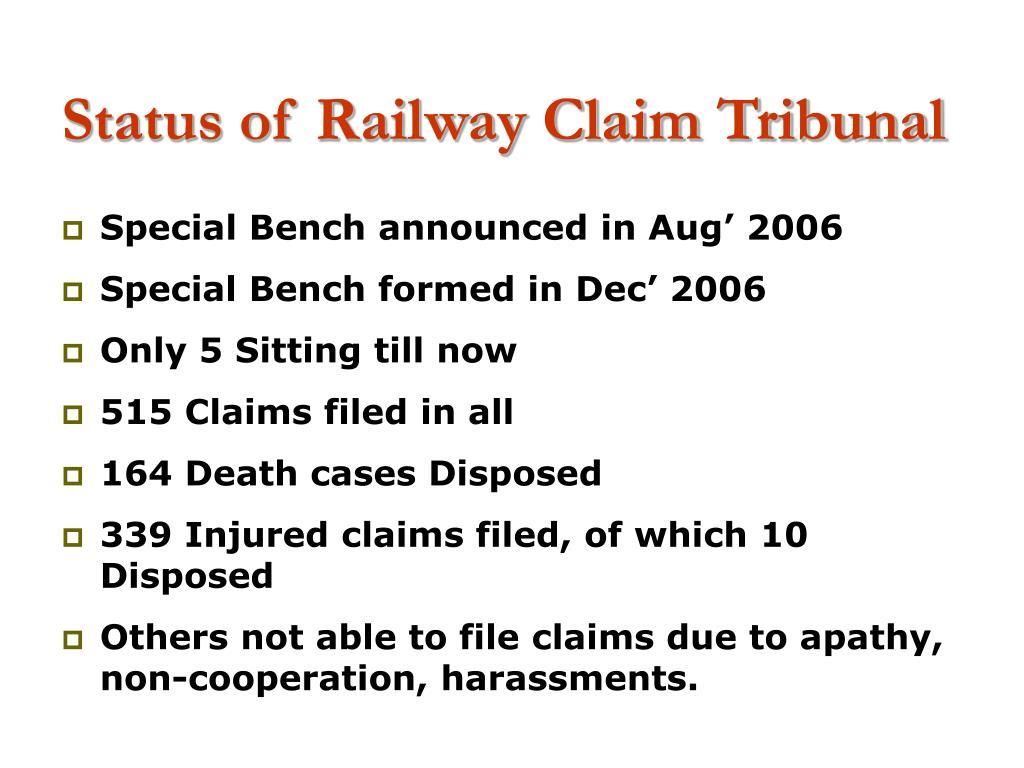 Status of Railway Claim Tribunal