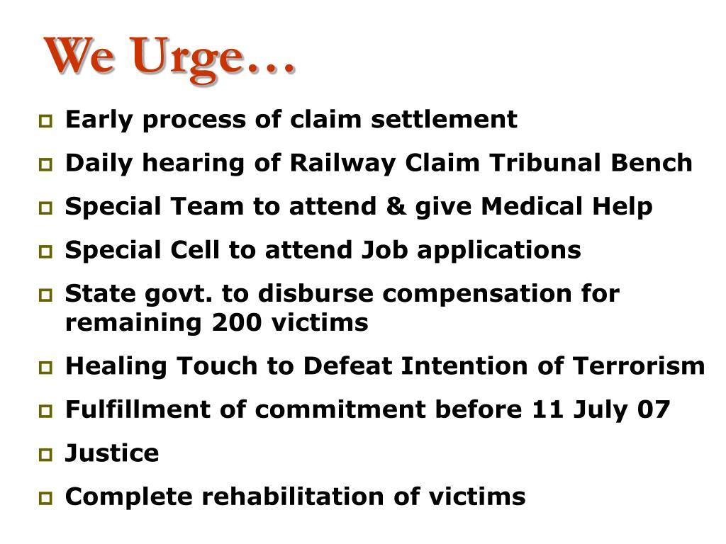 We Urge…