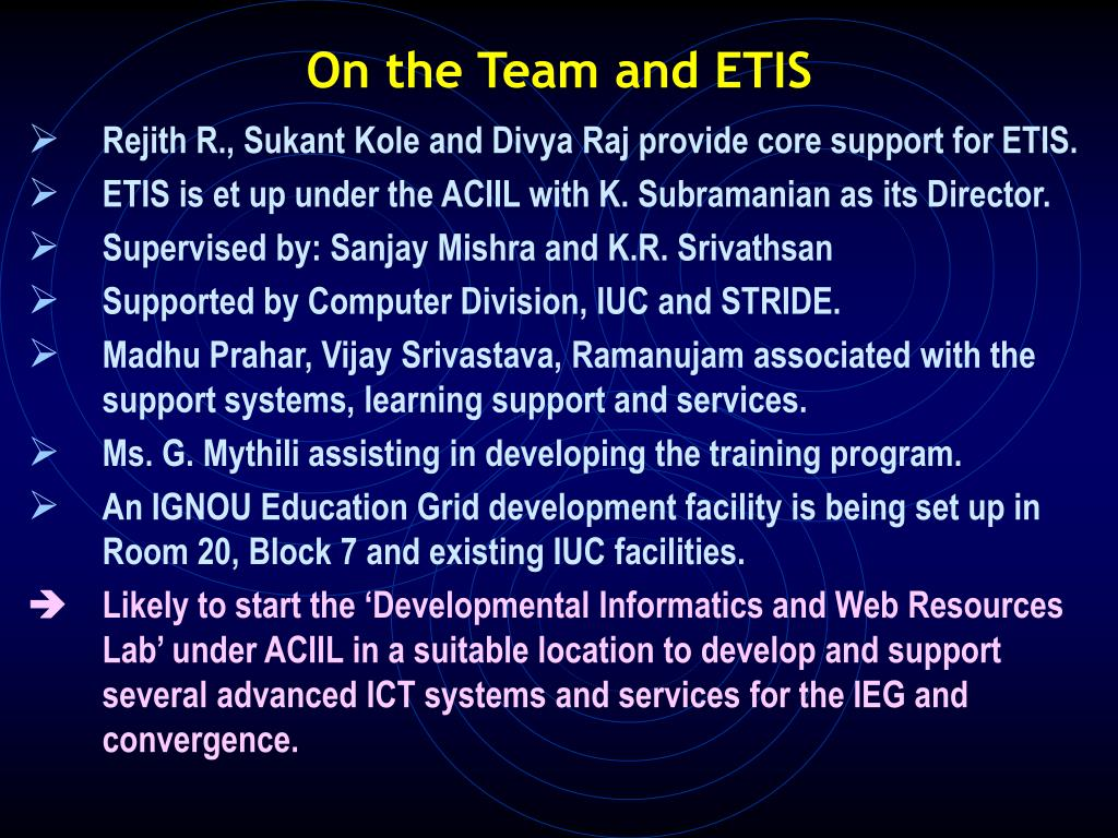 On the Team and ETIS