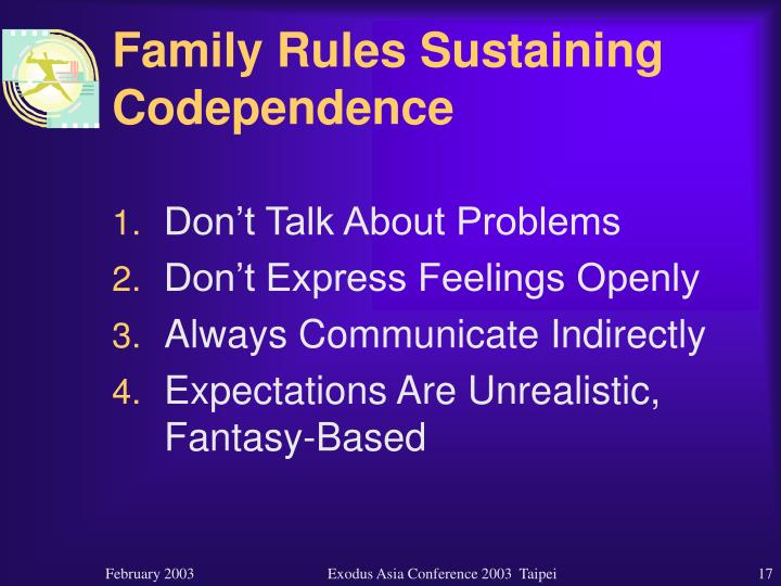 Family Rules Sustaining Codependence