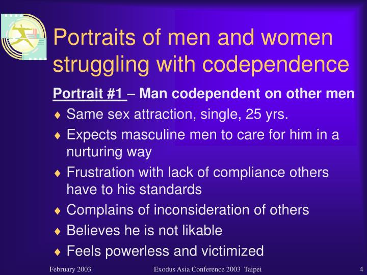 Portraits of men and women struggling with codependence