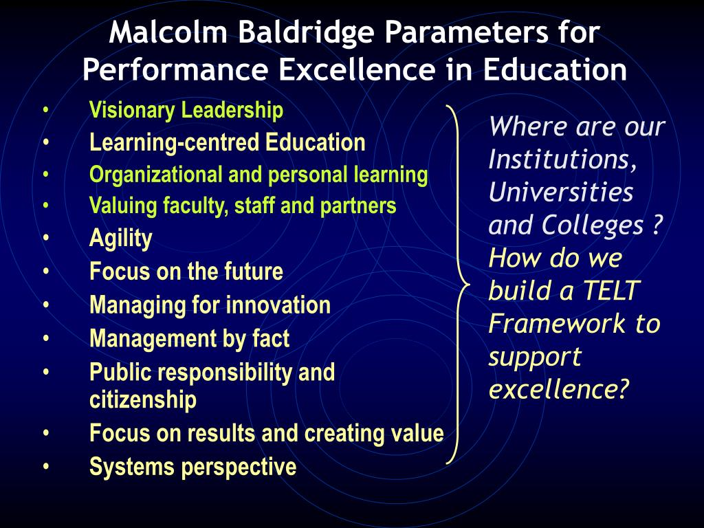 Malcolm Baldridge Parameters for Performance Excellence in Education