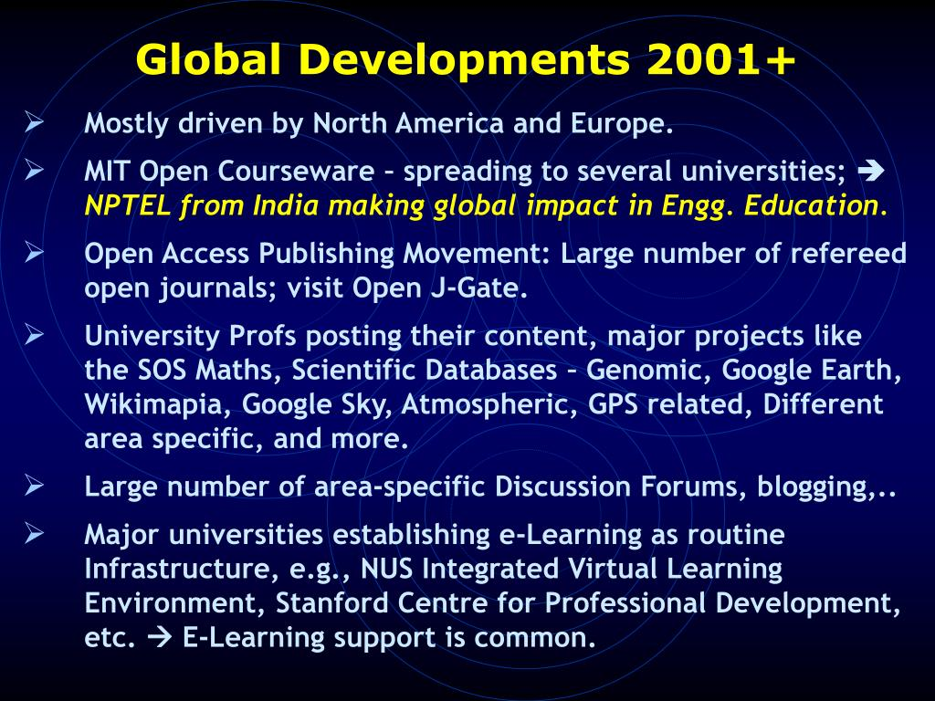 Global Developments 2001+