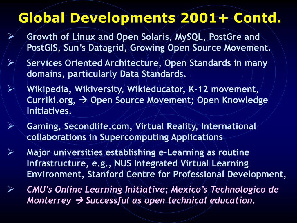 Global Developments 2001+ Contd.