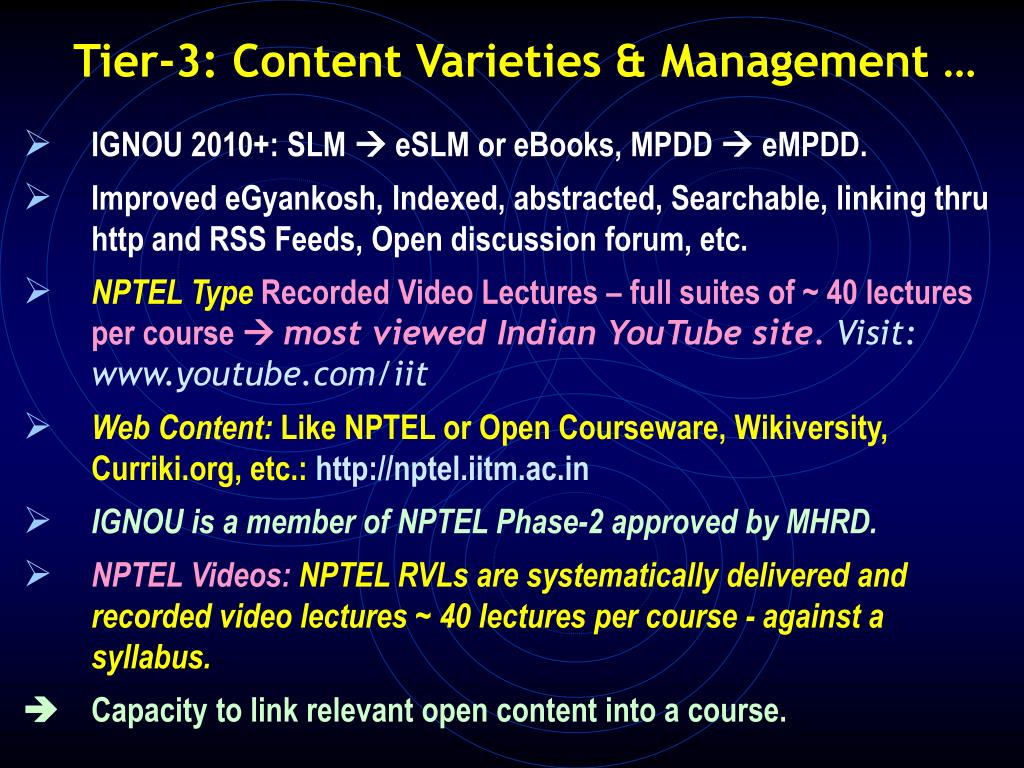 Tier-3: Content Varieties & Management …