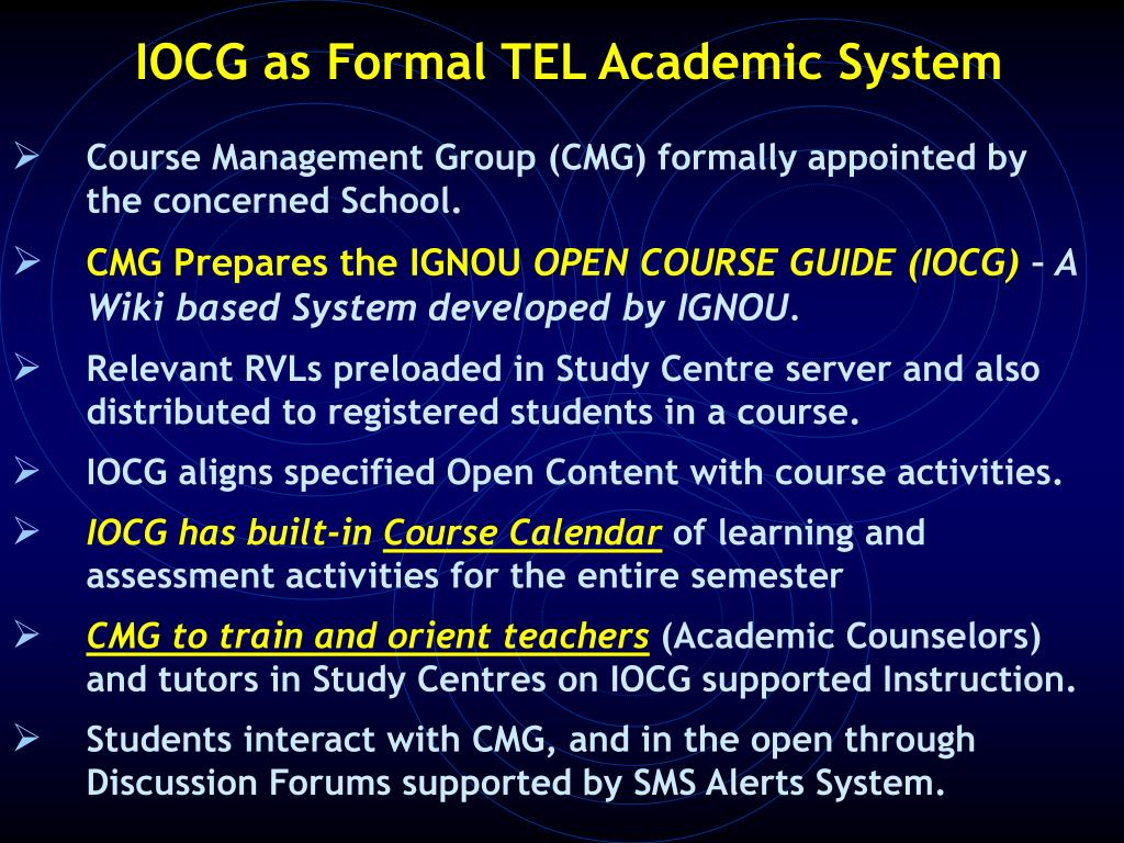 IOCG as Formal TEL Academic System
