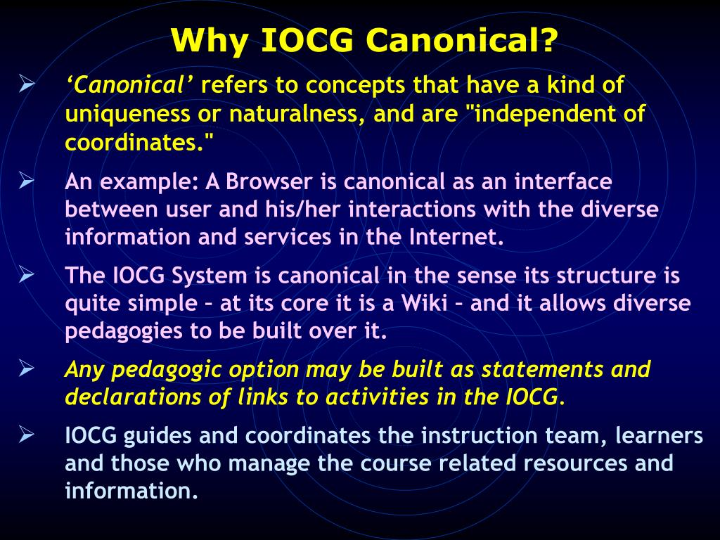 Why IOCG Canonical?