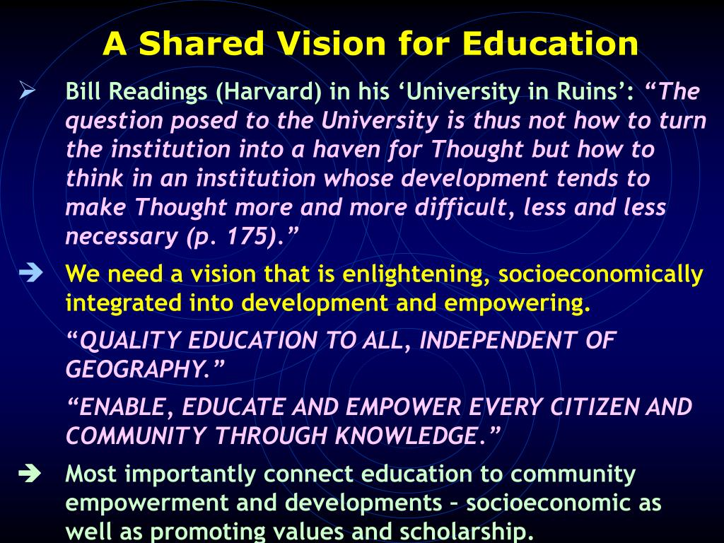A Shared Vision for Education