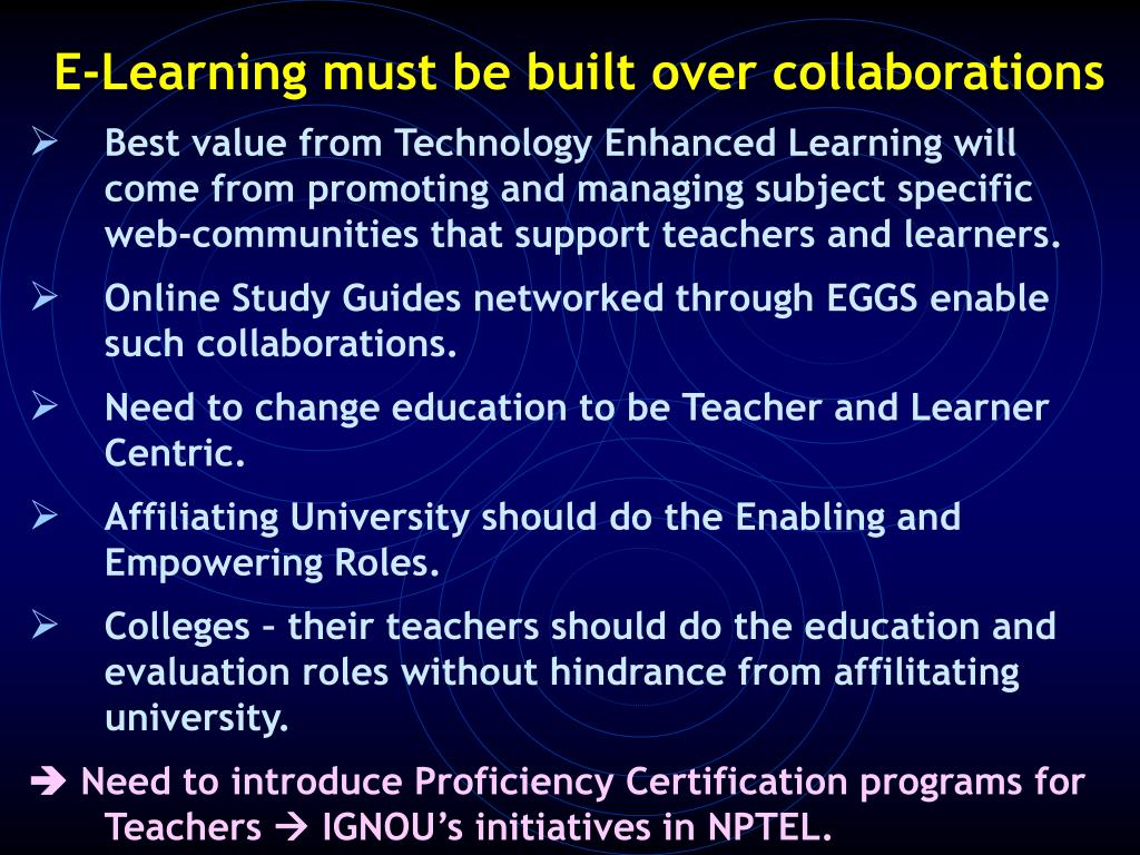 E-Learning must be built over collaborations