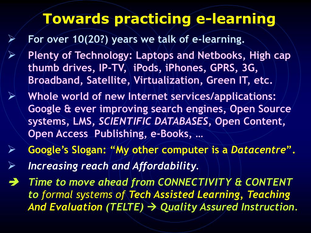 Towards practicing e-learning