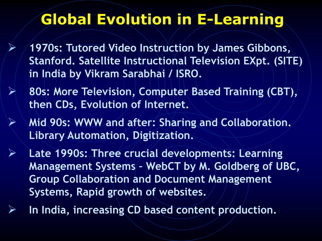 Global Evolution in E-Learning