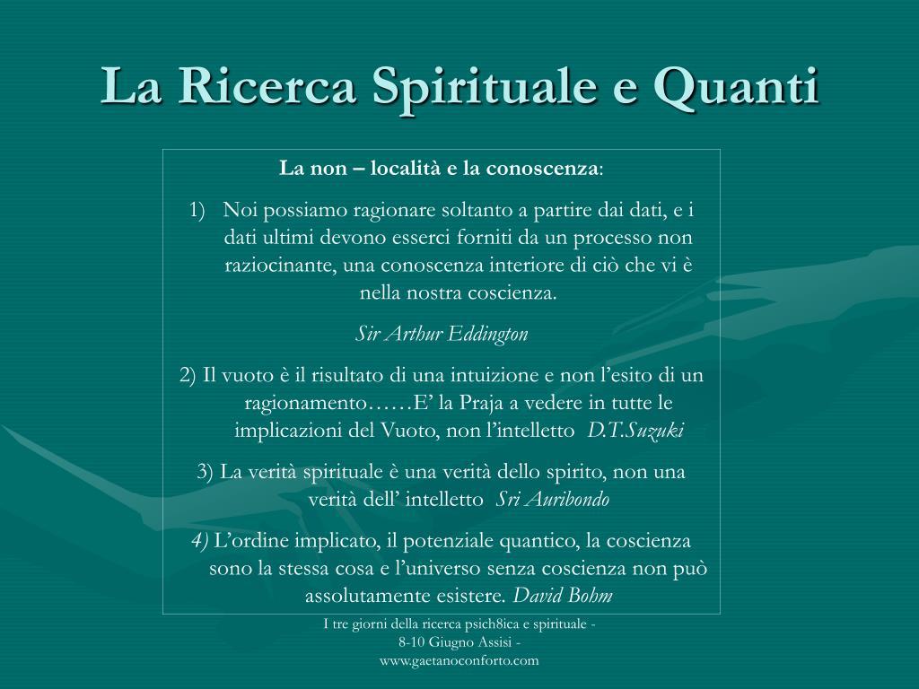 La Ricerca Spirituale e Quanti