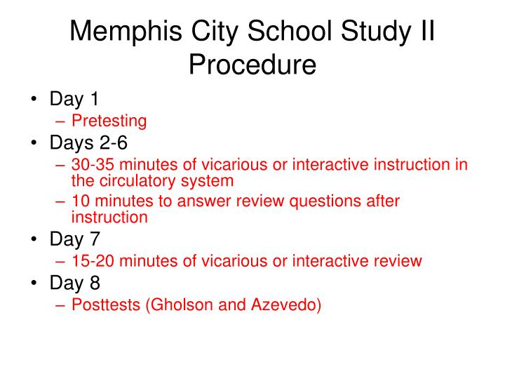Memphis City School Study II