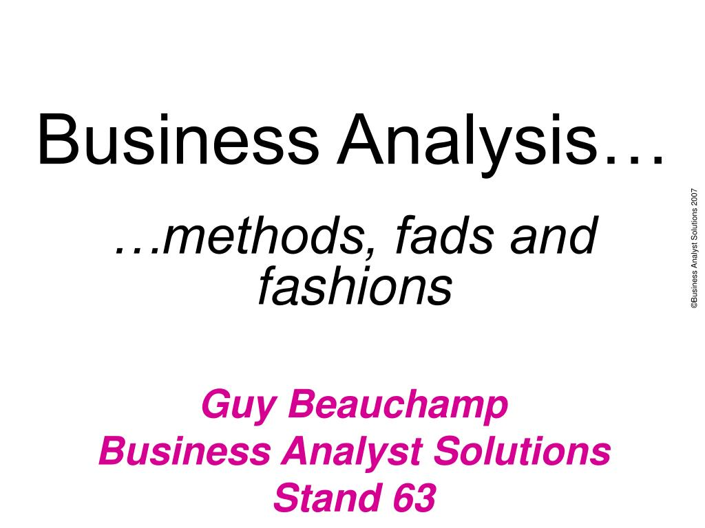 Business Analysis…