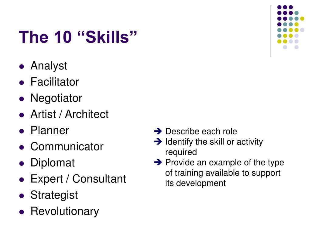 "The 10 ""Skills"""