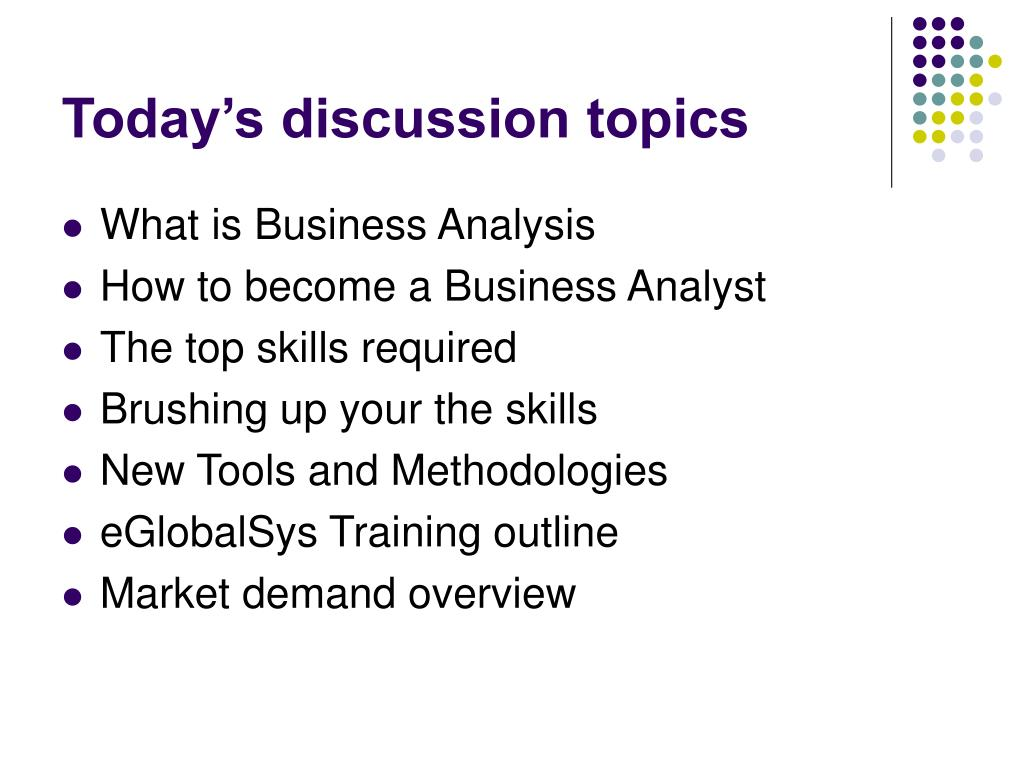 Today's discussion topics