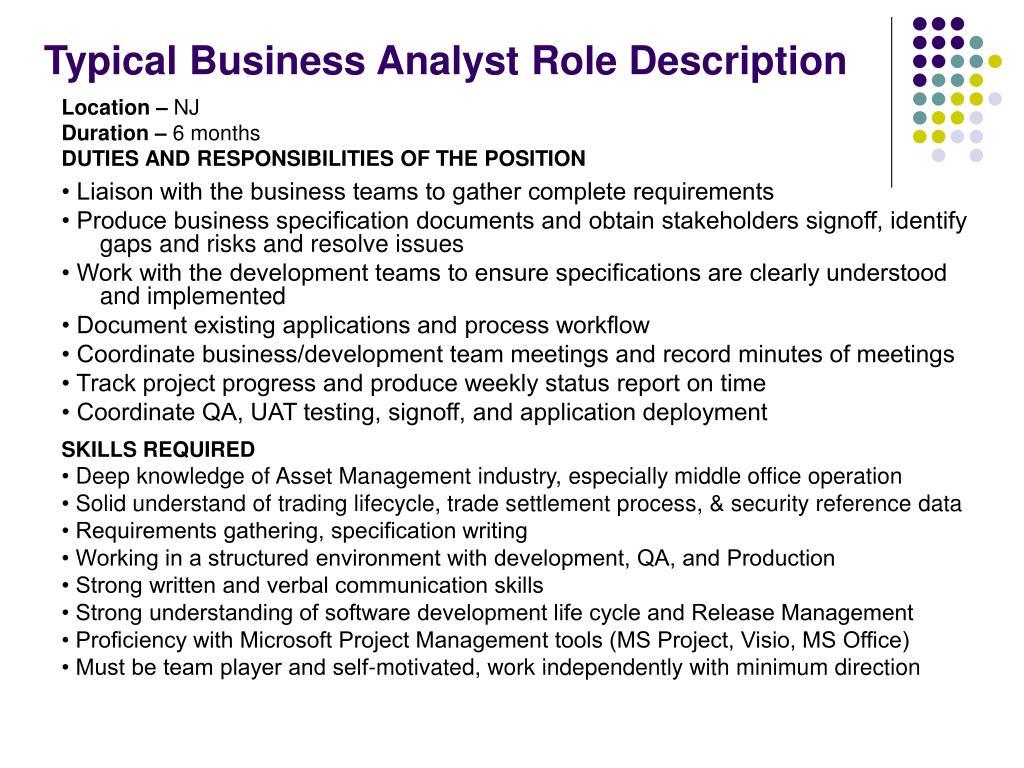 Typical Business Analyst Role Description