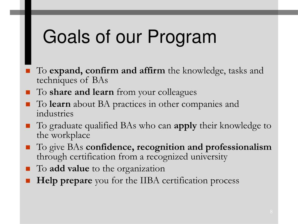 Goals of our Program