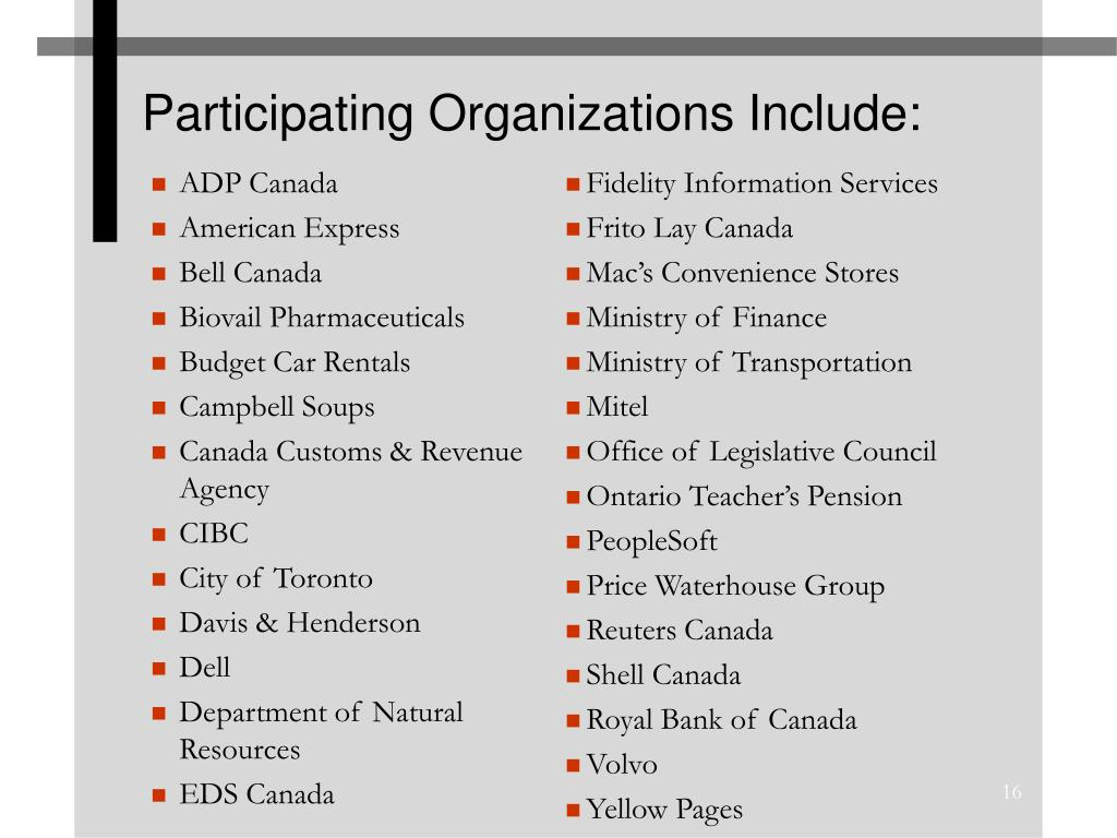 Participating Organizations Include: