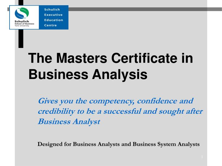 The masters certificate in business analysis l.jpg