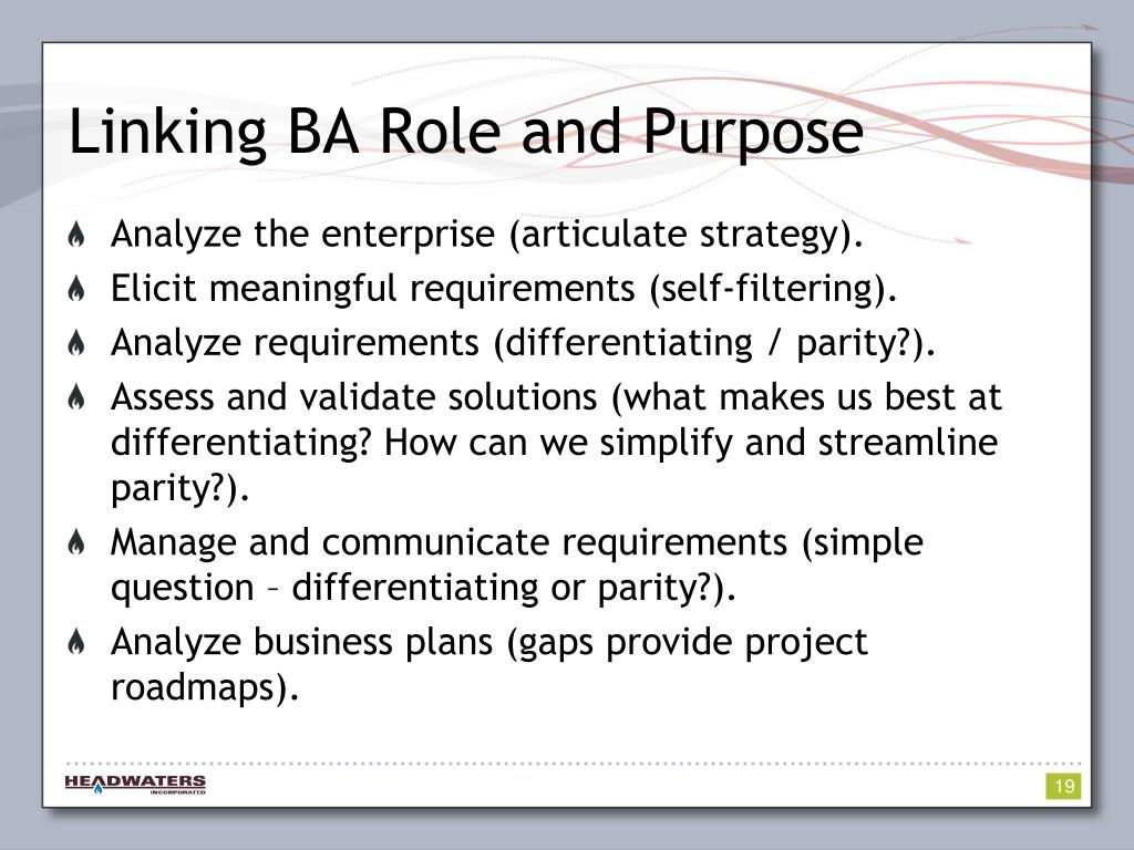 Linking BA Role and Purpose