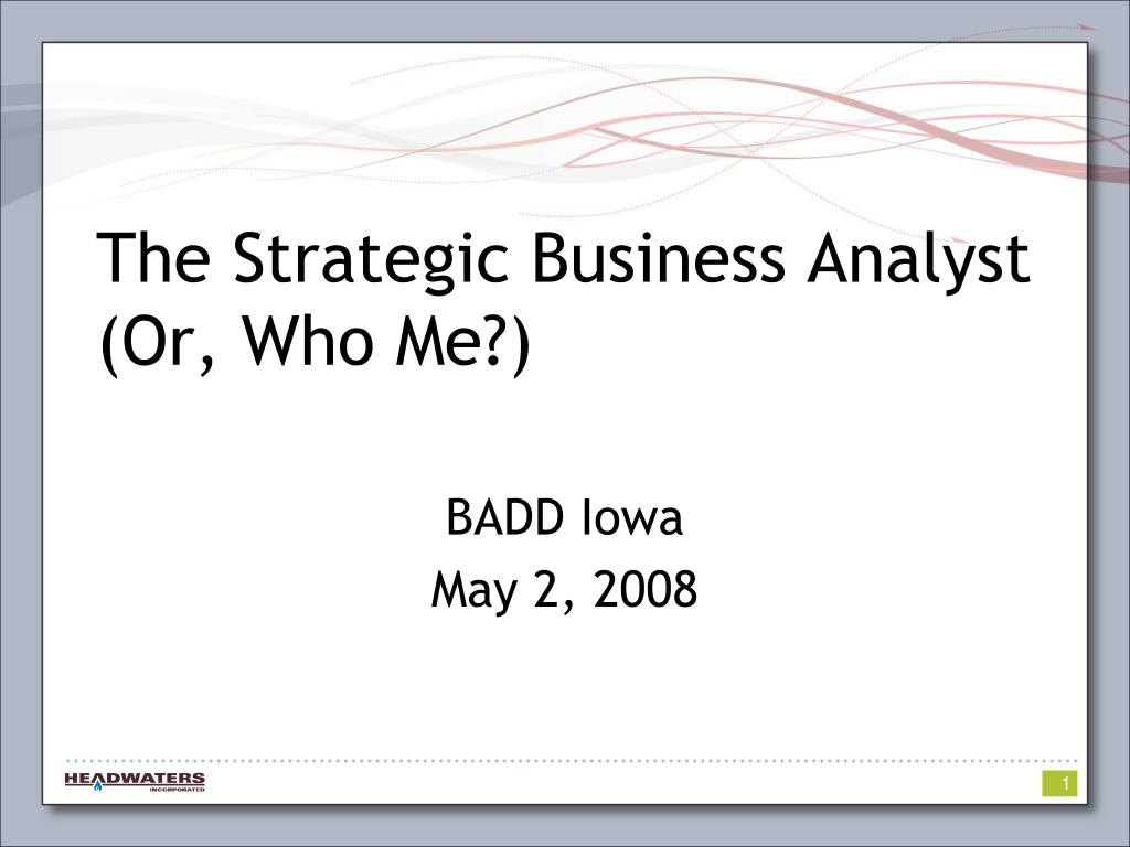 The Strategic Business Analyst (Or, Who Me?)