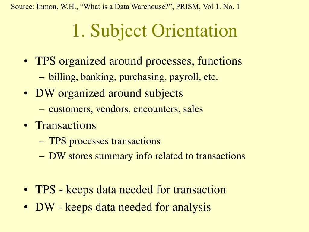 "Source: Inmon, W.H., ""What is a Data Warehouse?"", PRISM, Vol 1. No. 1"