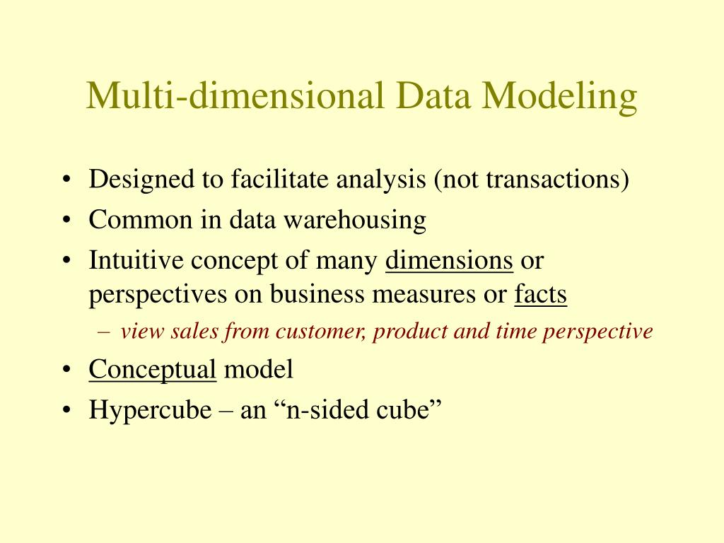 Multi-dimensional Data Modeling