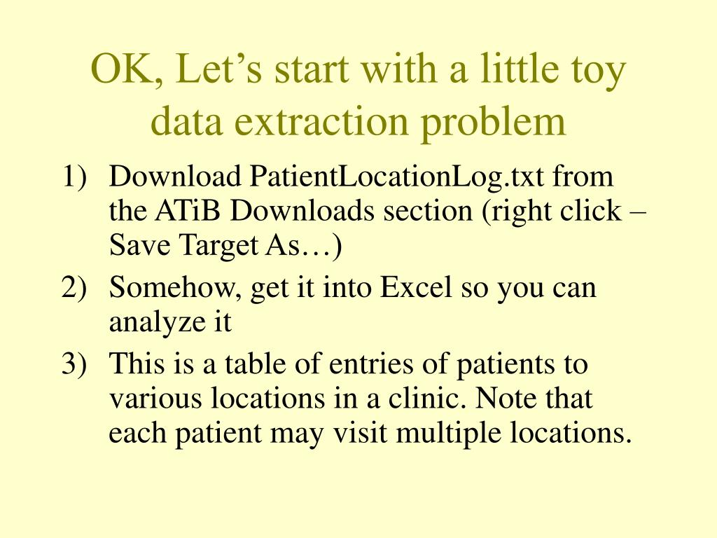 OK, Let's start with a little toy data extraction problem