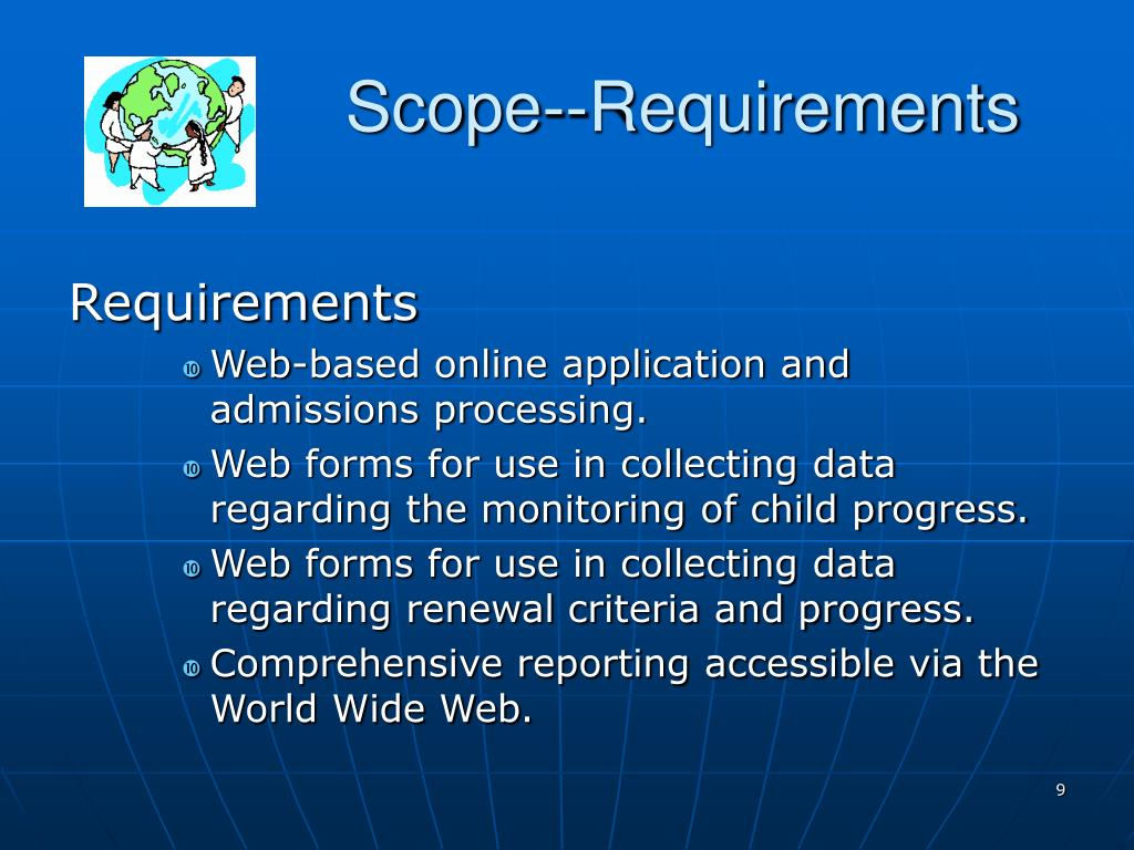 Scope--Requirements