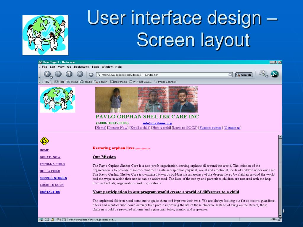 User interface design – 			Screen layout