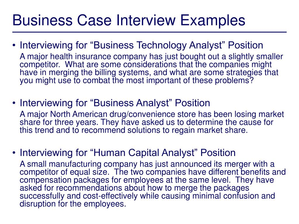 Business Case Interview Examples