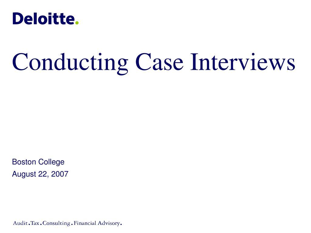 Conducting Case Interviews
