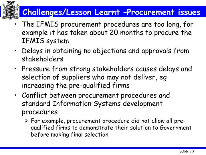 Challenges/Lesson Learnt –Procurement issues