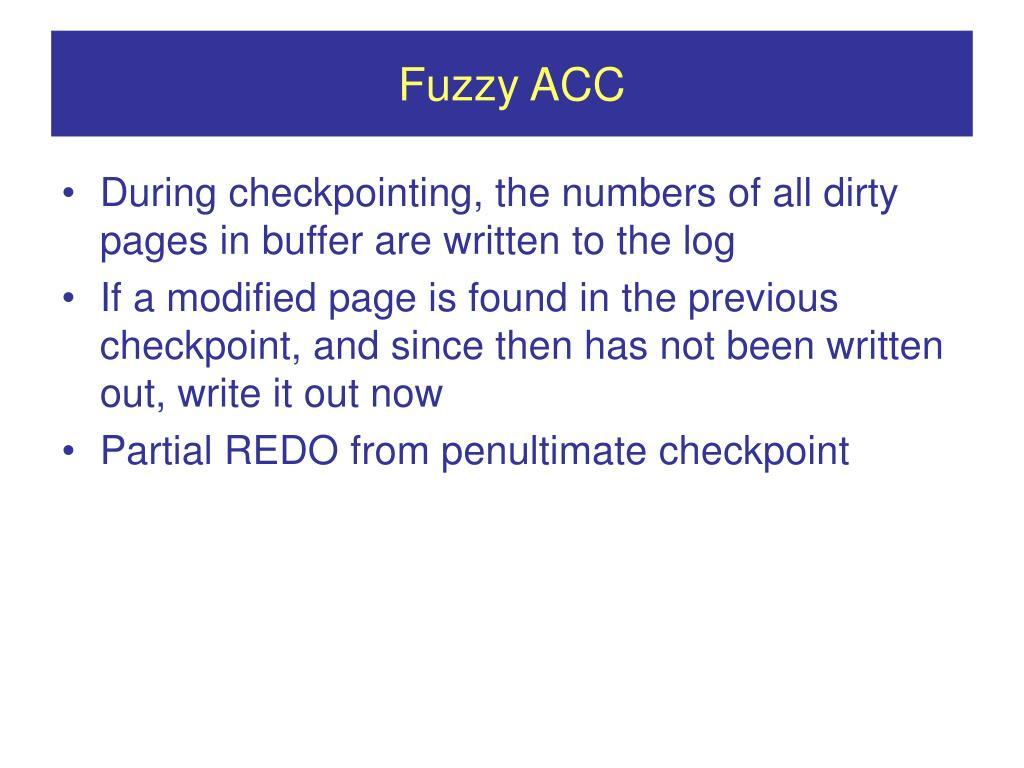Fuzzy ACC