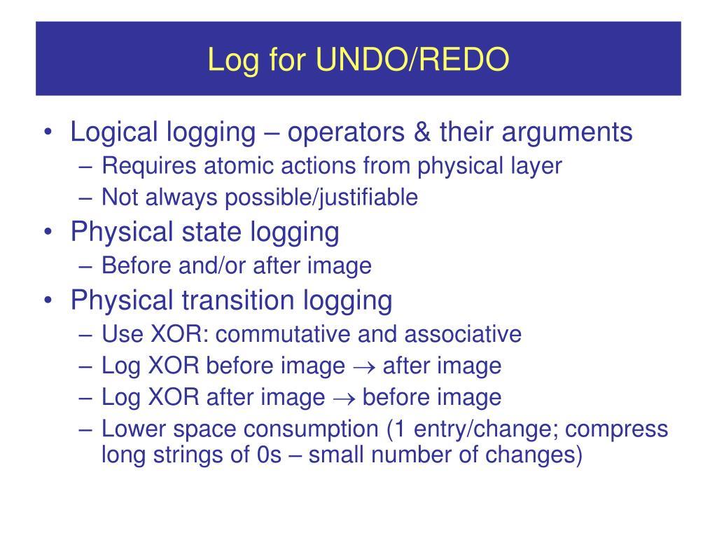 Log for UNDO/REDO