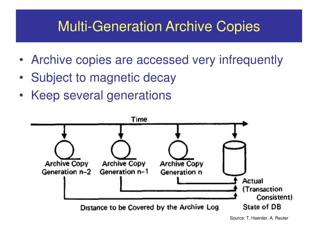 Multi-Generation Archive Copies