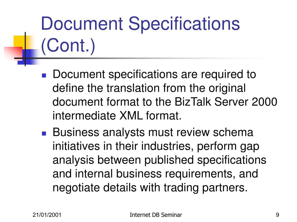Document Specifications (Cont.)