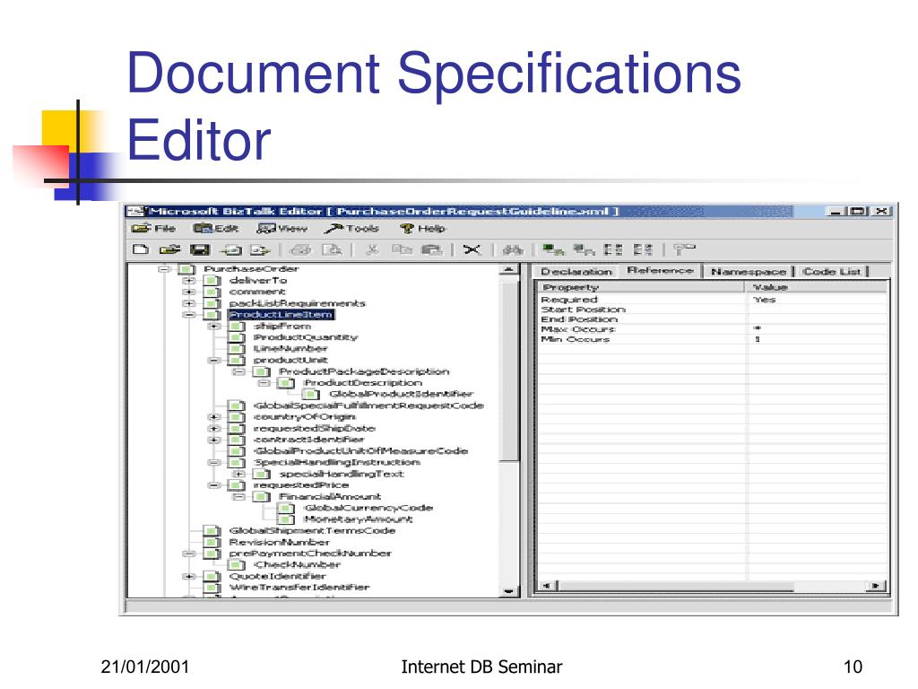 Document Specifications Editor