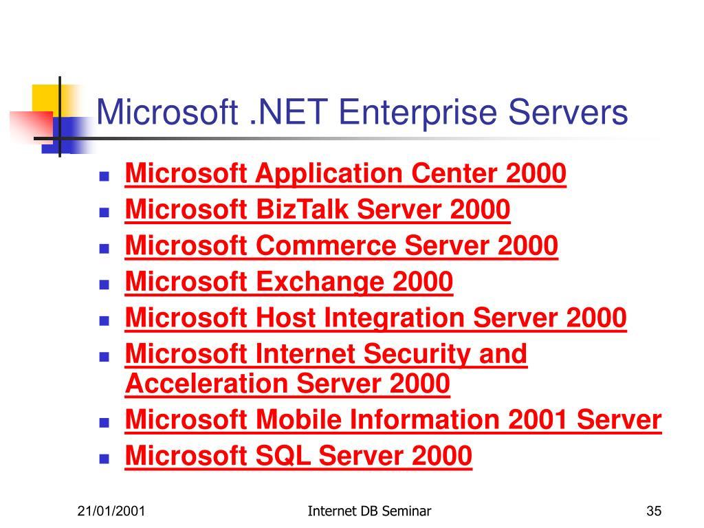 Microsoft .NET Enterprise Servers