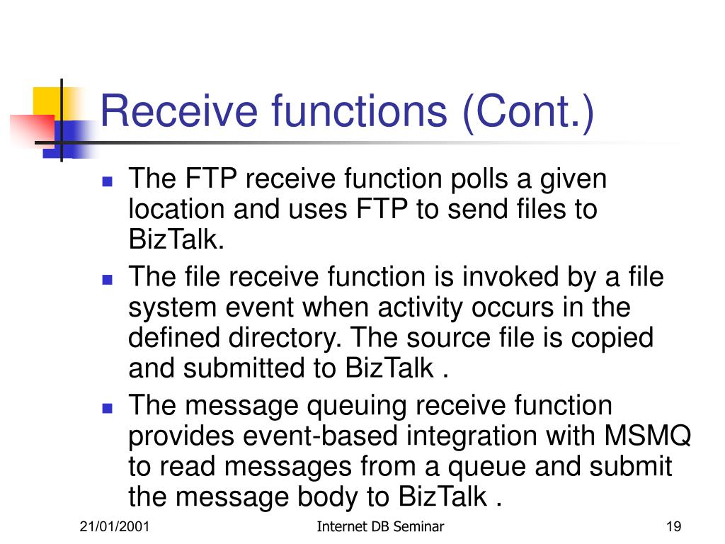 Receive functions (Cont.)
