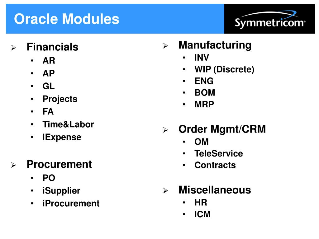 Oracle Modules